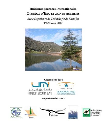 """Huitièmes Journées Internationales """"Oiseaux d'Eau et Zones Humides"""", Khénifra (Maroc), du 19 au 20 mai 2017."""